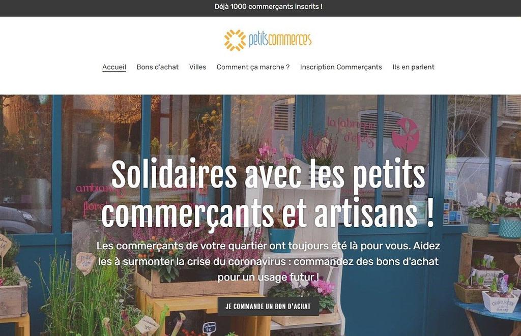 Accueil page site web petits commerces