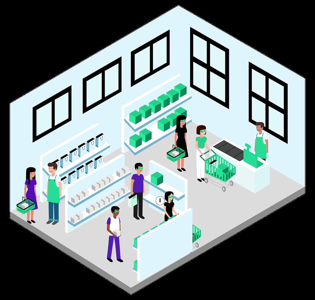 Clients et vendeurs à l'intérieur d'un magasin