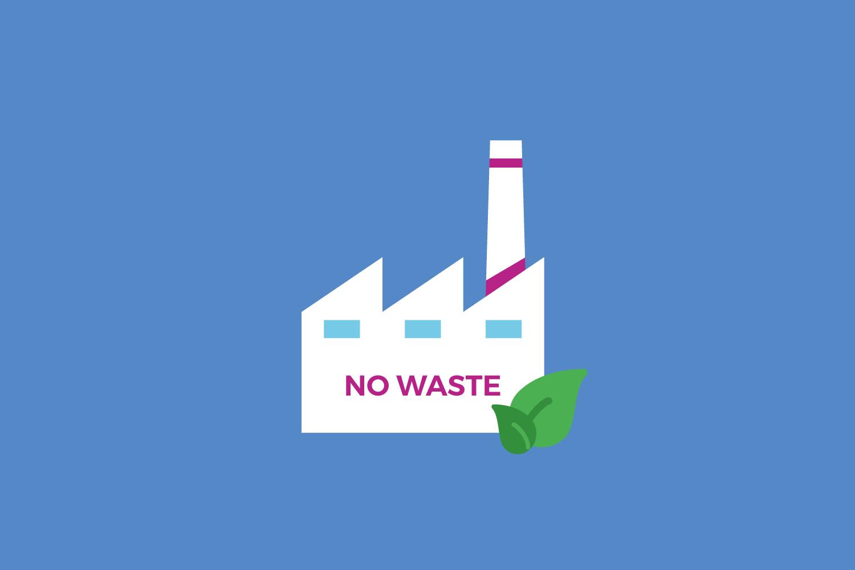 """Usine et slogan """"no waste"""""""