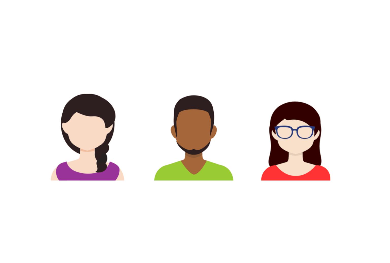 3 avatars de personnes