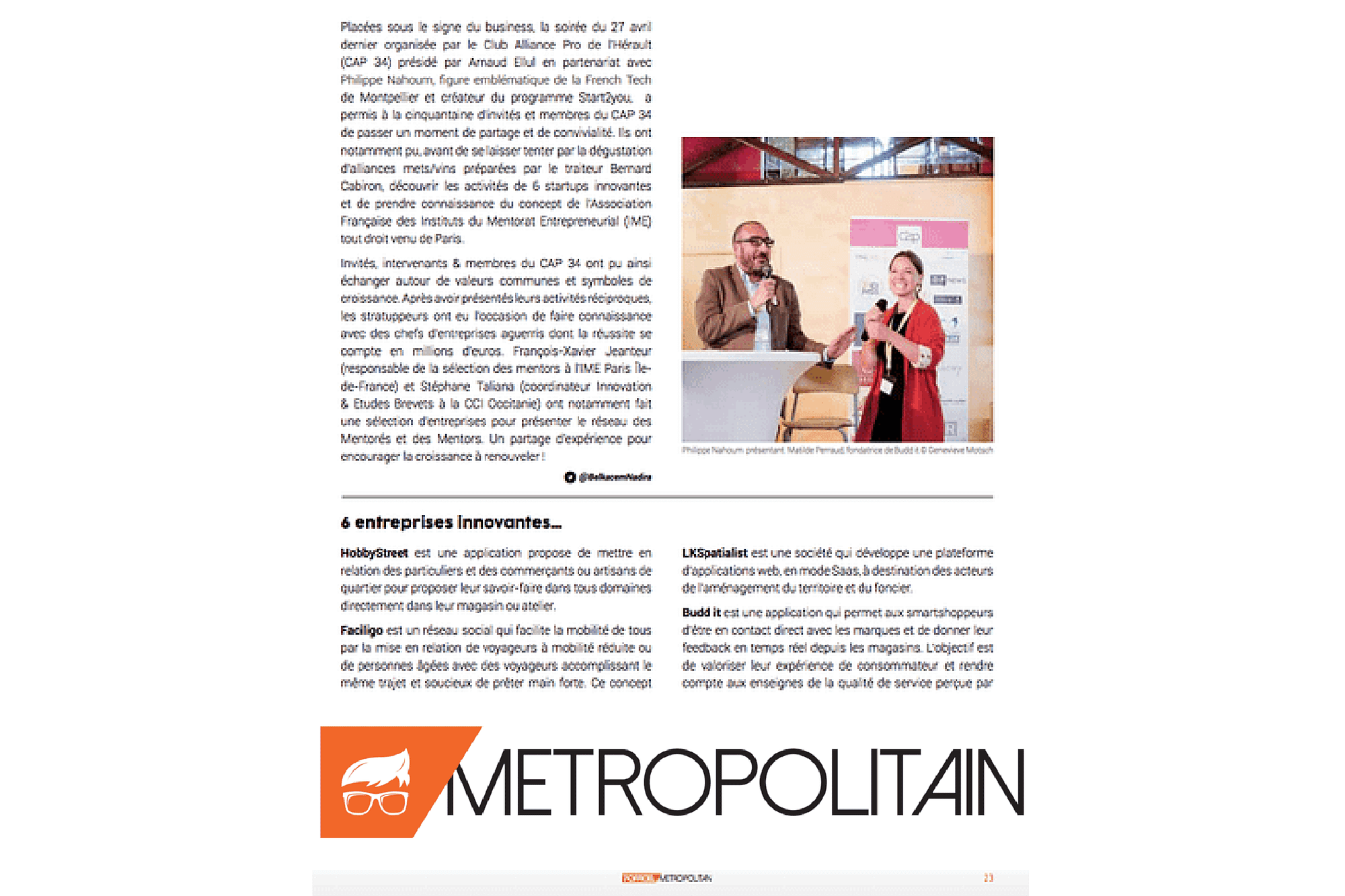 Article du Métropolitain sur la startup Budd'it