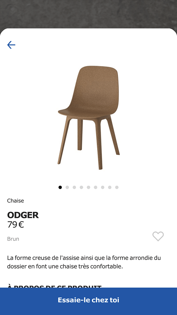 Fiche produit d'une chaise marron IKEA