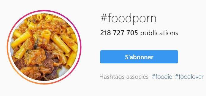 Hastag foodporn sur instagram