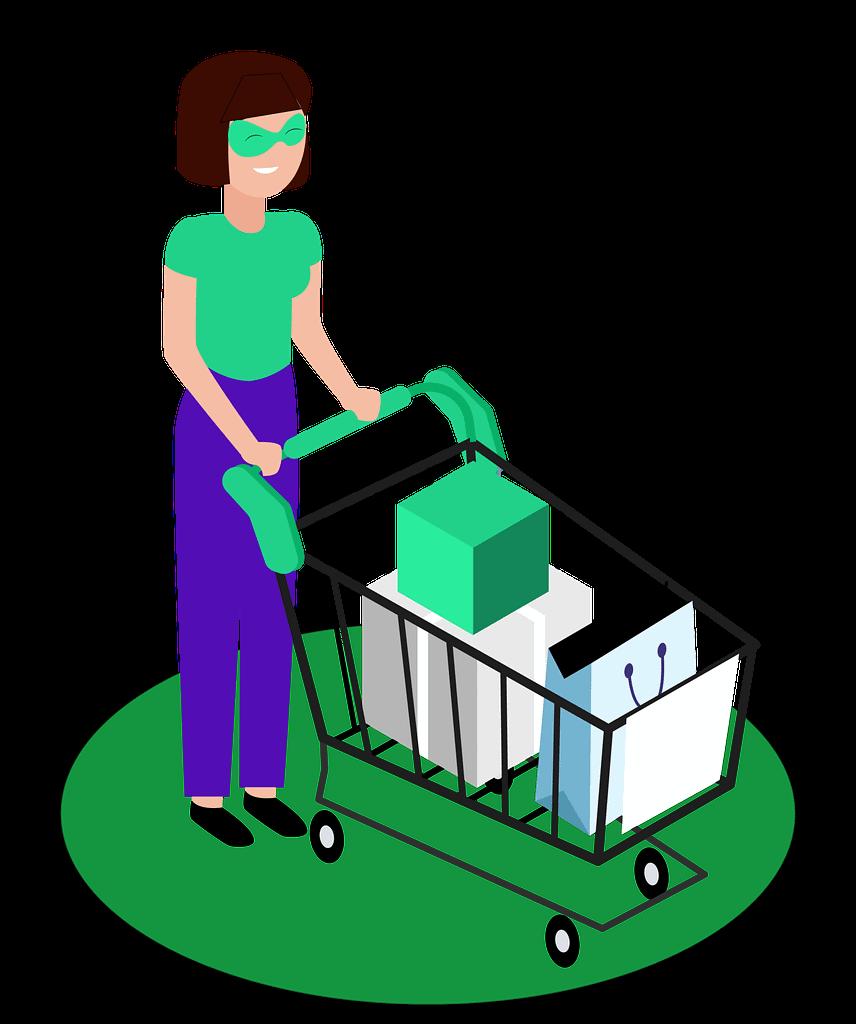 Avatar de consommateur avec des courses dans un caddie